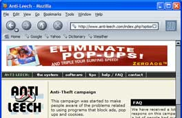 Screenshot of anti-leech website with pop-up blocking software ad
